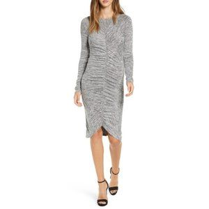 Leith Ruched Front Dress SOFT Bodycon Gray M 4413X